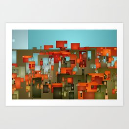 Abstract city in color by lh Art Print