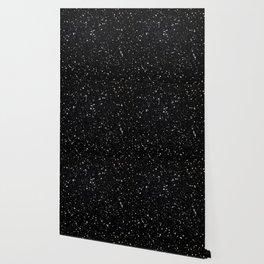 Glitter Stars2 - Silver Black Wallpaper