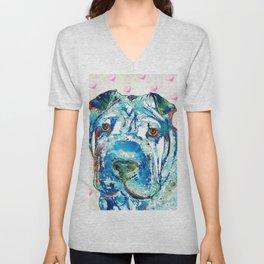 Colorful Shar Pei Dog Art by Sharon Cummings Unisex V-Neck
