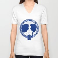 river song V-neck T-shirts featuring Doctor Who pals: The 10th doctor & River Song by logoloco