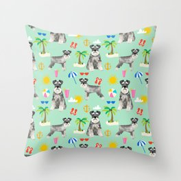 Schnauzer dog breed summer tropical dog pattern gifts schnauzers Throw Pillow