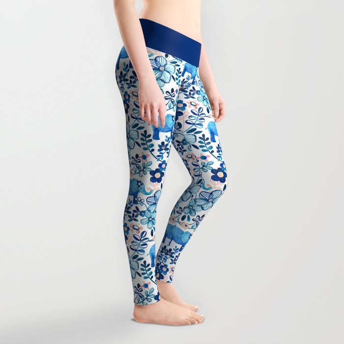 Blush Pink, White and Blue Elephant and Floral Watercolor Pattern Leggings