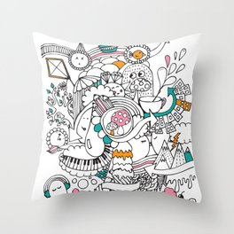 My Happy Doodle Throw Pillow