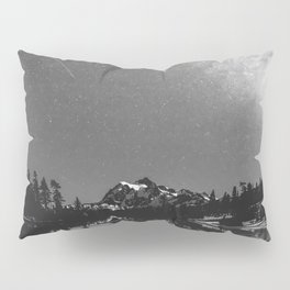 Summer Stars Black and White - Galaxy Mountain Reflection Pillow Sham