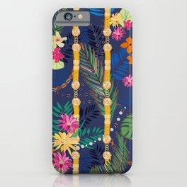 Tropical Flowers Golden Belt and Chain Vibrant Colored Trendy Pattern iPhone Case