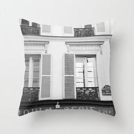 Paris in Black and White, La Boulangerie Throw Pillow