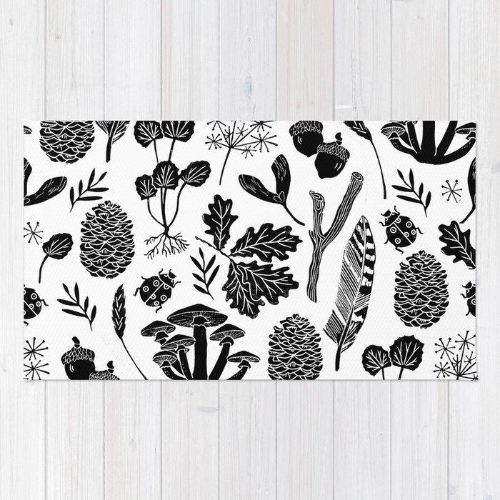 Linocut minimal botanical boho feathers nature inspired scandi black and white art rug