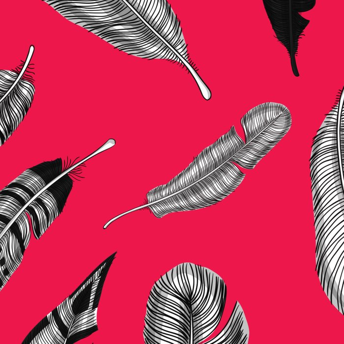 Seamless pattern with various hand drawn feathers on red background. Leggings