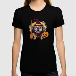 Witch Bulldog Dog Costume For Spooky Halloween T-shirt