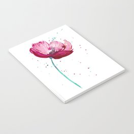 Bright Watercolor Poppy Notebook