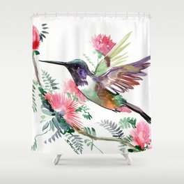 Flying Hummingbird and Red Flowers Shower Curtain
