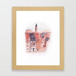 Small town watercolor illustration Framed Art Print