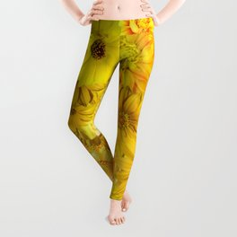 Yellow Rose Bouquet with Gerbera Daisy Flowers Leggings