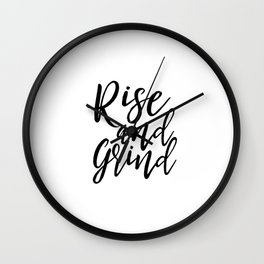 Bedroom Decor Rise And Grind Rise And Shine Inspirational Wall Art Kitchen Decor Kitchen Wall art Wall Clock