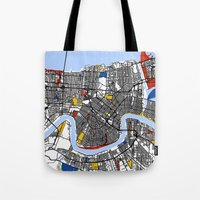 new orleans Tote Bags featuring New Orleans by Mondrian Maps