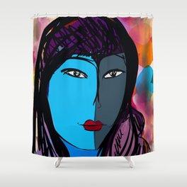 Portrait Blue Girl Shower Curtain