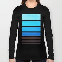 Cerulean Blue Minimalist Watercolor Mid Century Staggered Stripes Rothko Color Block Geometric Art Long Sleeve T-shirt