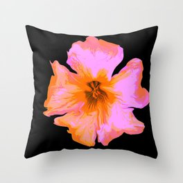 Pink Painted Pansy on Black by Aloha Kea Photography Throw Pillow
