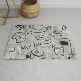 Grunge Coffee Background - Black & White 04 Rug