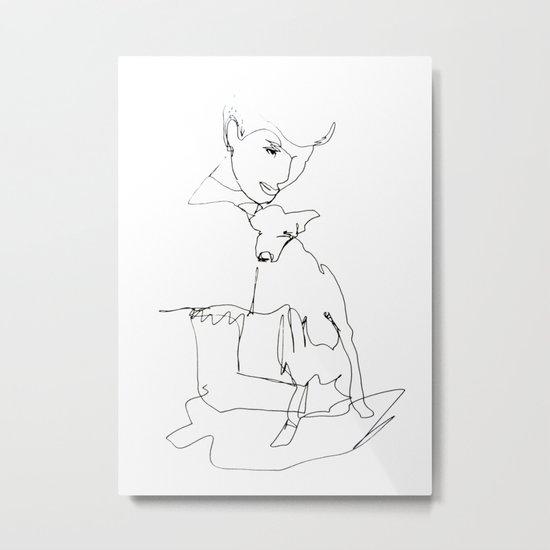 Woman with dog Metal Print