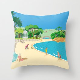 Modern Retro Art Print of Balmoral Beach, Sydney, Australia Throw Pillow
