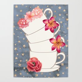 Floral Coffee Cups Poster
