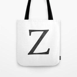 Letter Z Initial Monogram Black and White Tote Bag