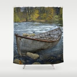 Canoe on the Thornapple River in Autumn Shower Curtain