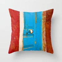 door Throw Pillows featuring Door by Maite Pons