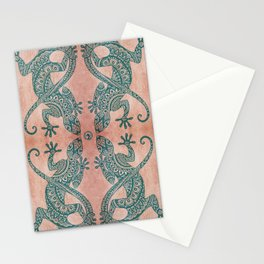 Bohemian tribal lizard pattern in teal and terracotta tones Stationery Cards