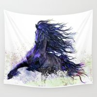 running Wall Tapestries featuring Horse running  by Mary Karydy