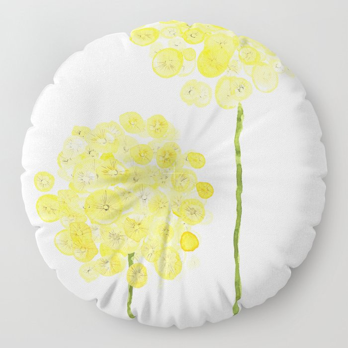 two abstract dandelions watercolor Floor Pillow