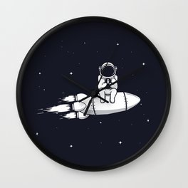 Astronaut Play with Mobile Phone Wall Clock