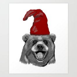Happy Christmas Bear Art Print