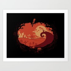 View over Halloween Town Art Print