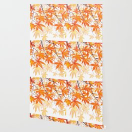 orange maple leaves watercolor Wallpaper