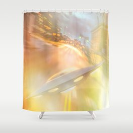 Downtown UFO Shower Curtain