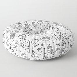 Fast Food Monoline Doodles Floor Pillow