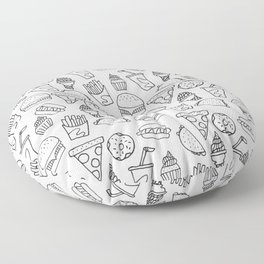 Fast Food Monoline Doodles Floor Pillow