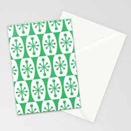 Mid Century Modern Atomic Fusion Pattern Green Stationery Cards
