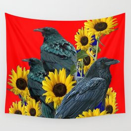 DECORATIVE RED ART SUNFLOWERS & CROW/RAVENS COVEN Wall Tapestry