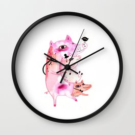 Three and Free Little Pigs Wall Clock