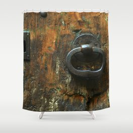 Old Wooden Door with Keyholes Shower Curtain