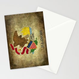 Illinois State flag vintage parchment paper type textures Stationery Cards