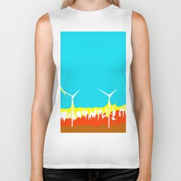 wind turbine in the desert with blue sky Biker Tank