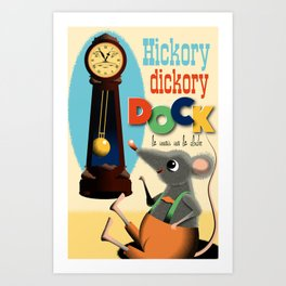 Hickory dickory dock vintage French style Art Print