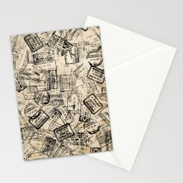 Passport Stamps Collage Print Stationery Cards