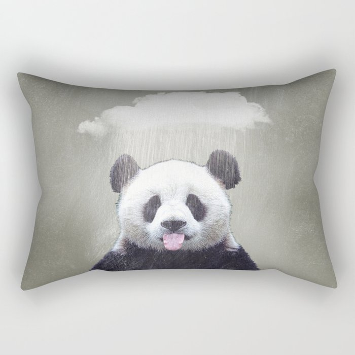 Panda Rain Rectangular Pillow