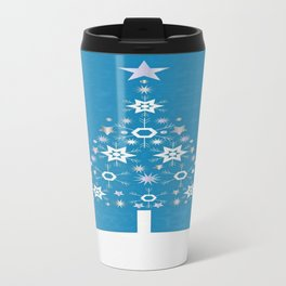 Christmas Tree Made Of Snowflakes On Cerulean Background Travel Mug