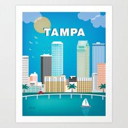 Tampa, Florida - Skyline Illustration by Loose Petals Art Print